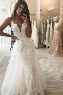 Spaghetti Straps Lace Mermaid Removable Detachable Wedding Dresses_1