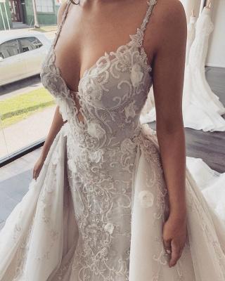 Spaghetti Straps V-neck  Mermaid Removable Skirt Convertible Wedding Dresses_4