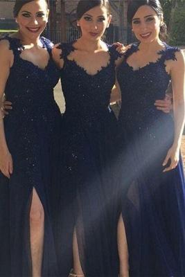 Navy Blue Lace Appliques Side-Slit Chiffon A-line Bridesmaid Dresses_2