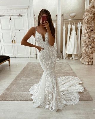 Spaghetti Straps Lace Fit and Flare Wedding Dresses with Detachable Sparkle Overskirt_2