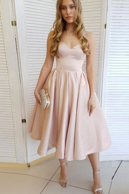 Strapless Sweetheart A-line Tea Length Pastel Colored Party Dresses_1