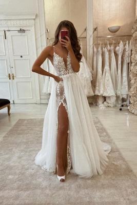 Spaghetti Straps V-neck Sexy Wedding Dresses With Detachable Train_1