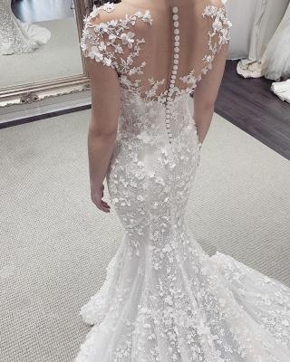 Stylish Jewel Sheer Lace Cap Sleeves Detachable Skirt Wedding Dresses_3