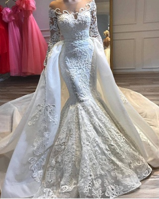 Alluring Long Sleeve Applique Fit And Flare Mermaid Detachable Skirt Overlay Wedding Dress_2