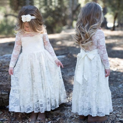 Modern Flower Length A-line Lace Long-Sleeve Jewel Flower Girl Dress with Bow_4