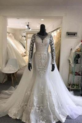 Jewel Lace Sheath Detachable Skirt Wedding Dresses with Long Sleeves_1