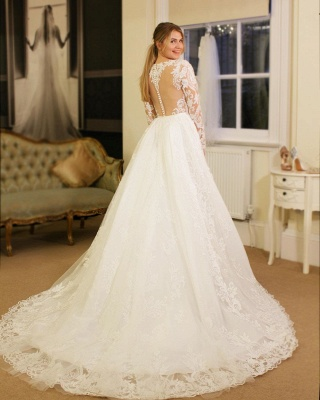 V-neck Lace Sheath Detachable Skirt Wedding Dresses with L ong Sleeves_2