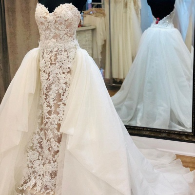 Strapless Sweetheart Elegant Lace Wedding Dresses With Detachable Skirts_3