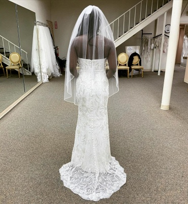 Sexy Strapless Lace Crystal Floor Length Column Wedding Dress With Detachable Skirt_3