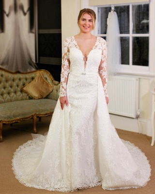 V-neck Lace Sheath Detachable Skirt Wedding Dresses with L ong Sleeves_3