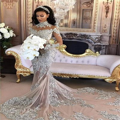 Luxury Silver Mermaid Wedding Dresses | Long Sleeves Lace High Neck Bridal Gowns_2