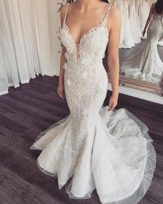 Spaghetti Straps V-neck  Mermaid Removable Skirt Convertible Wedding Dresses_2