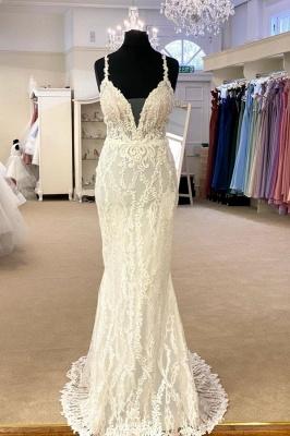 Sexy Spaghetti Strap V Neck Lace Sheath Detachable Skirt Overlay Wedding Dress_2