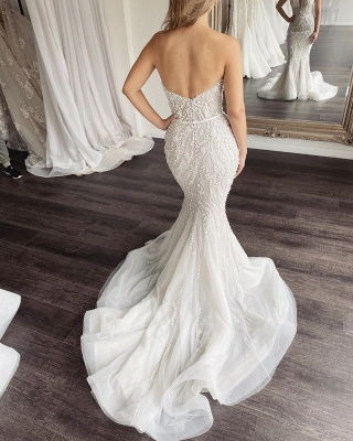 Strapless Sweetheart Beaded Tulle 2 in 1 Wedding Dress With Detachable Train_3
