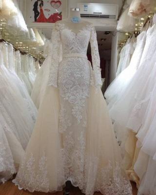 Elegant Jewel Long Sleeve Applique Beading Column Detachable Skirt Wedding Dress_2
