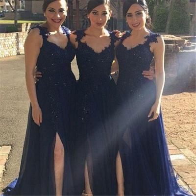 Navy Blue Lace Appliques Side-Slit Chiffon A-line Bridesmaid Dresses_3
