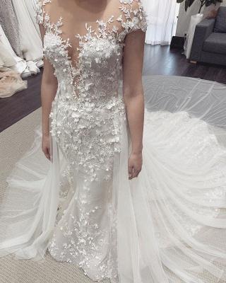 Stylish Jewel Sheer Lace Cap Sleeves Detachable Skirt Wedding Dresses_4
