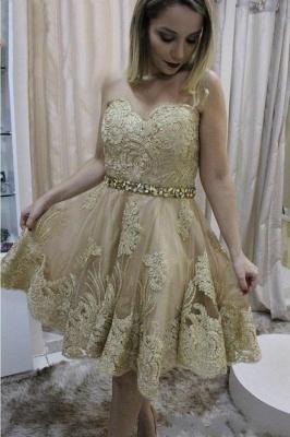 Short Sleeveless Sweetheart Lace Cute Crystals Homecoming Dress_2