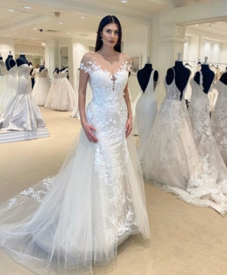 Jewel Sheer Lace Cap Sleeves Chic 2 in 1 Detachable Wedding Dresses_2