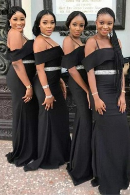 Chic Black Strapless Bridesmaid Dresses | Spaghettis Straps Beading Belt Wedding Party Dress_2