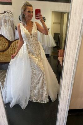 Unique Straps Plunging V Neckline Floor Length Lace Column Detachable Skirt Overlay Wedding Dress_1