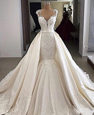 V-neck Cap Sleeves Lace Mermaid Convertible Skirt Overlay Wedding Dresses_2