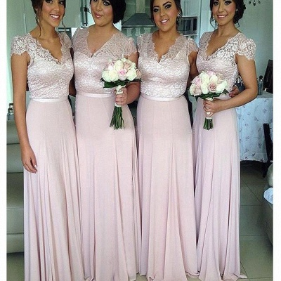 V-Neck Lace A-Line Bridesmaid Dresses Short Sleeve Floor Length Prom Gowns_2