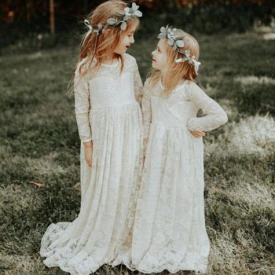Modern Flower Length A-line Lace Long-Sleeve Jewel Flower Girl Dress with Bow_3
