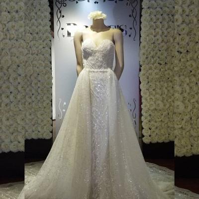 Strapless Sweetheart Glittering Detachable Overlay Wedding Dresses_2