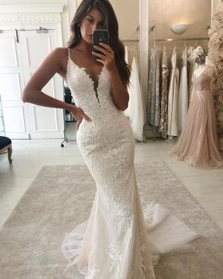 Spaghetti Straps Lace Mermaid Removable Detachable Wedding Dresses_2
