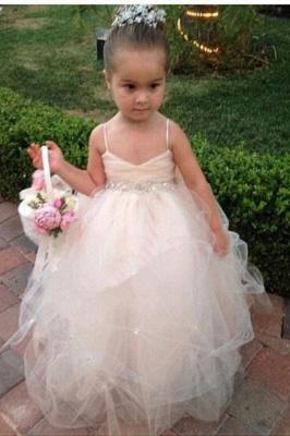 Spaghetti Straps Sleeveless Sequins Sash Ball Gown Tulle Lovely Flower Girl Dresses_1