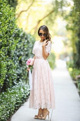 Round Neck Short Sleeves Grace Pink Lace Tea Length Wedding Guest Dresses_2