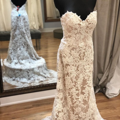 Strapless Sweetheart Elegant Lace Wedding Dresses With Detachable Skirts_2