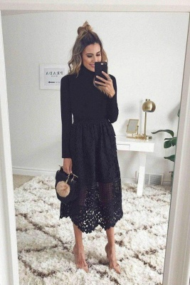 High Neck Long Sleeves Black Lace Tea Length Wedding Party Dresses for Guests_1