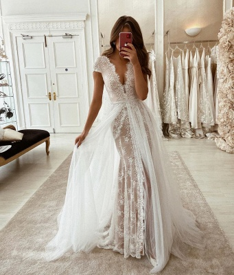 V-neck Cap Sleeves Grace Lace Wedding Dress With Detachable Overskirt_2