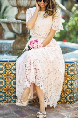 Round Neck Short Sleeves Grace Pink Lace Tea Length Wedding Guest Dresses_3