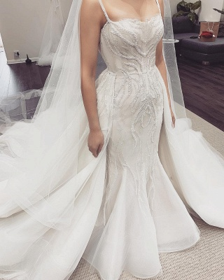 Spaghetti Straps Fit and Flare Wedding Dresses With Removable Train_4