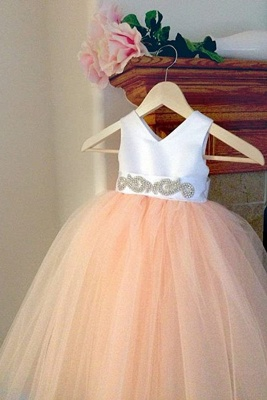 Lovely V-Neck Tulle Flower Girls Dresses Floor Length Crystal Pageant Dresses_1