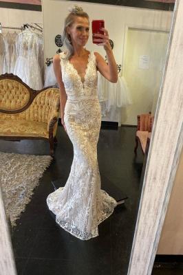 Unique Straps Plunging V Neckline Floor Length Lace Column Detachable Skirt Overlay Wedding Dress_2