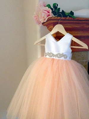 Lovely V-Neck Tulle Flower Girls Dresses Floor Length Crystal Pageant Dresses_4