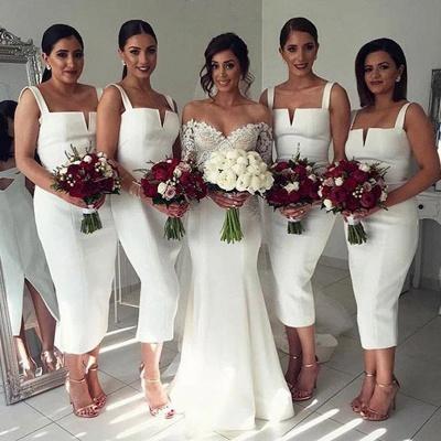 Modest Sleeveless Tea-Length White Straps Bodycon Bridesmaid Dress_3