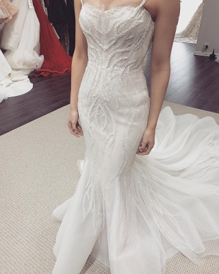 Spaghetti Straps Fit and Flare Wedding Dresses With Removable Train_2