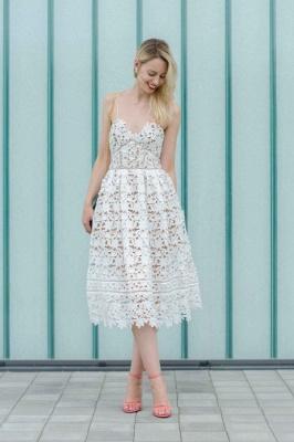 Stylish Spaghetti Straps V-neck A-line Midi Lace Wedding Guest Dresses_1