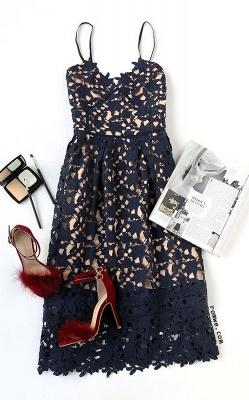 Women's Grace Spaghetti Straps V-neck Lace Tea Length Party Dresses for Weddingg_3