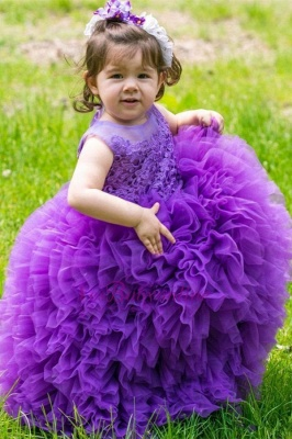 Lovely Purple Lace Ball-Gown Sleeveless Floor-Length Flower Girl Dress
