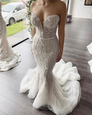 Strapless Sweetheart Beaded Tulle 2 in 1 Wedding Dress With Detachable Train_2