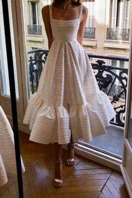 Stylish Spaghetti Straps Square Neck Skirt Midi Wedding Guest Dresses_1