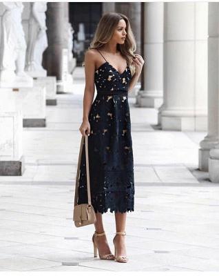 Women's Grace Spaghetti Straps V-neck Lace Tea Length Party Dresses for Weddingg_2