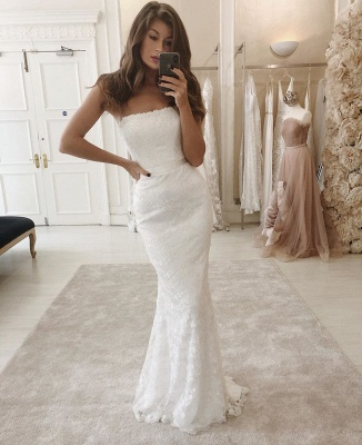 Modern Strapless FItted Lace Detachable Skirt Overlay Wedding Dresses_2