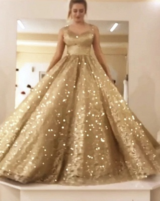Sparkly Sequin Ball Gown Prom Dresses | Long Sleeves Evening Dresses_3